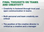 final thoughts on teams and creativity