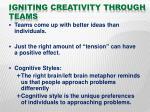 igniting creativity through teams