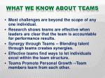 what we know about teams