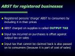 abst for registered businesses