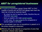 abst for unregistered businesses