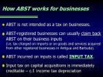 how abst works for businesses
