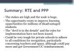 summary rte and ppp