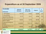 expenditure as at 30 september 2009