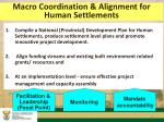 macro coordination alignment for human settlements