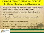 pillar 4 service delivery priorities b shelter development governance