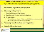 strategy pillar 4 key priorities c settlements development long term