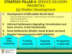 strategy pillar 4 service delivery priorities a shelter development