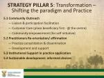 strategy pillar 5 transformation shifting the paradigm and practice