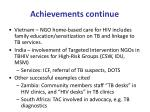 achievements continue