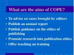 what are the aims of cope