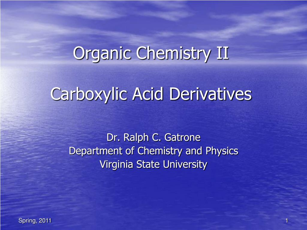 organic chemistry ii carboxylic acid derivatives l.