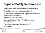 signs of safety in newcastle