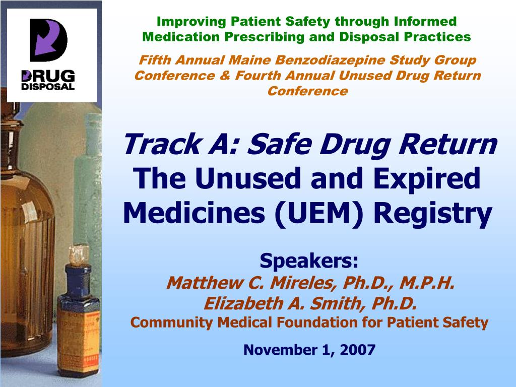 track a safe drug return the unused and expired medicines uem registry l.