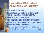unused and expired medicines registry about the uem registry