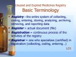 unused and expired medicines registry basic terminology