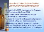 unused and expired medicines registry community medical foundation