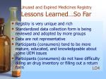 unused and expired medicines registry lessons learned so far