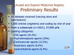 unused and expired medicines registry preliminary results