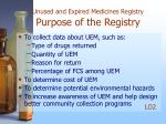 unused and expired medicines registry purpose of the registry