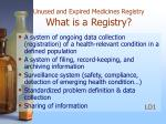 unused and expired medicines registry what is a registry