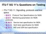 itu t sg 11 s que s tions on testing