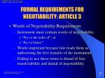 formal requirements for negotiability article 313
