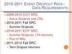 2010 2011 event dropout rate
