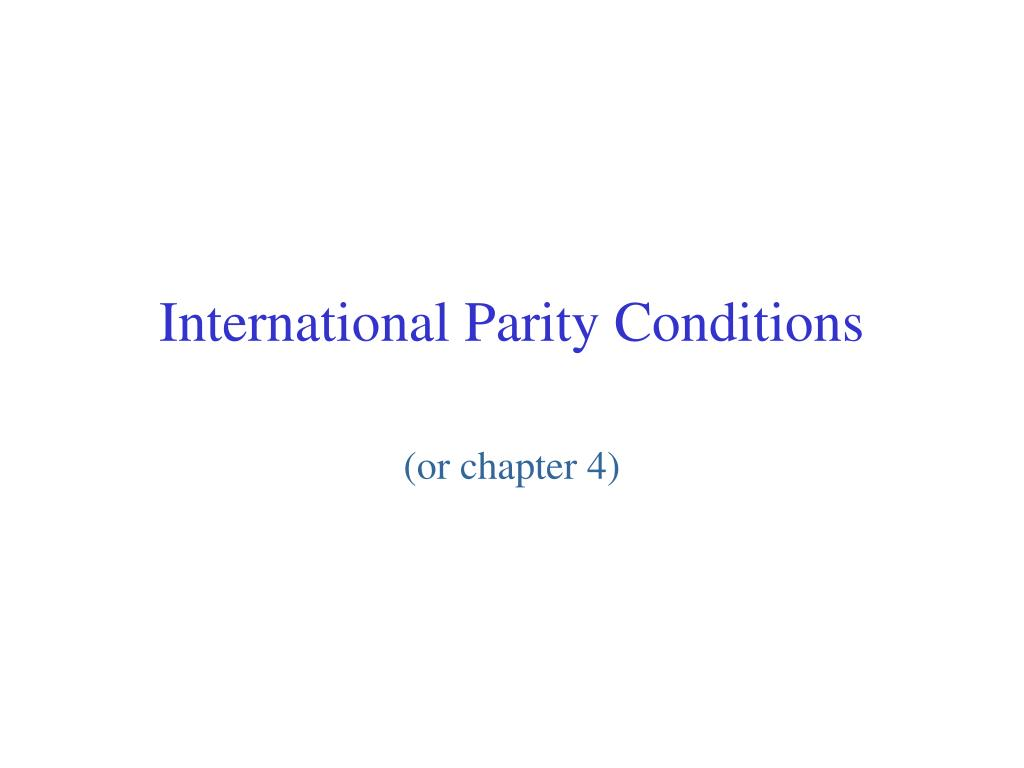 international parity conditions l.