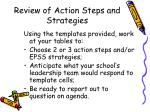 review of action steps and strategies