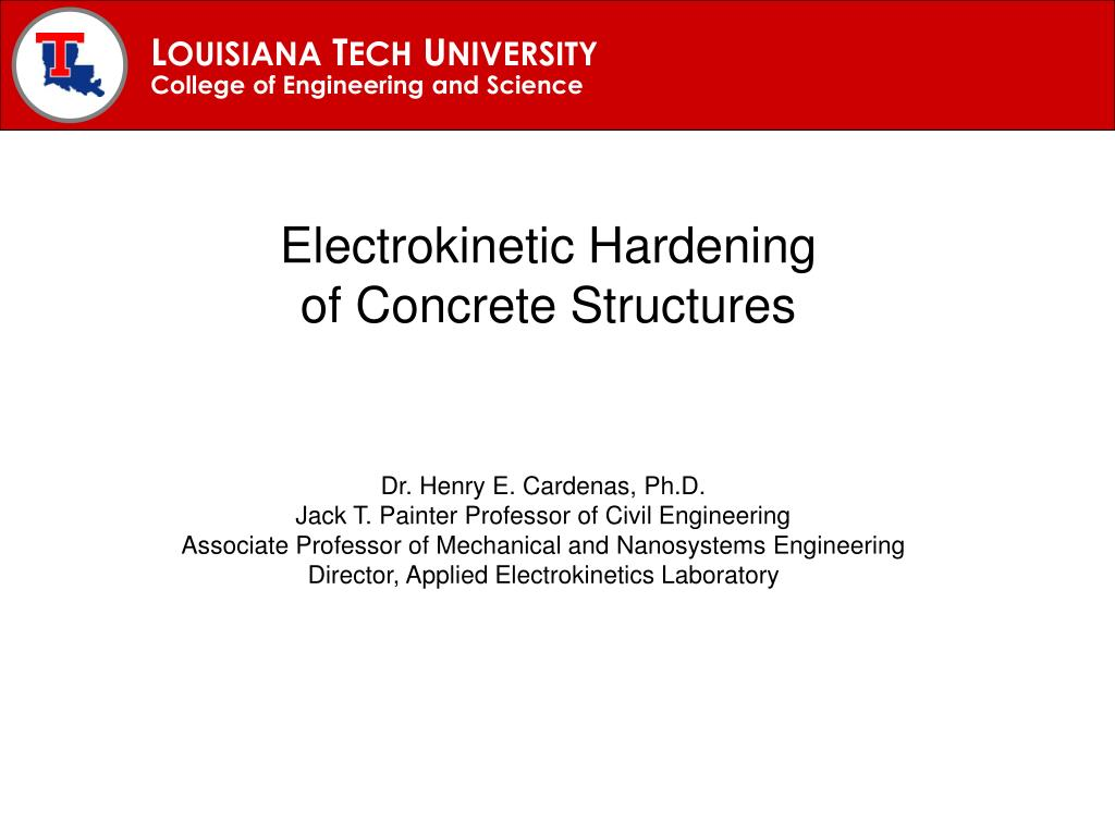 electrokinetic hardening of concrete structures l.
