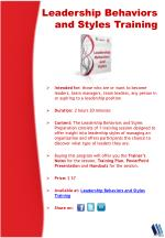 leadership behaviors and styles training