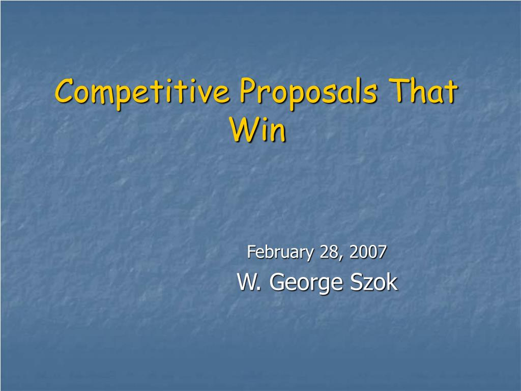 competitive proposals that win l.