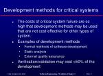 development methods for critical systems