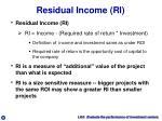 residual income ri