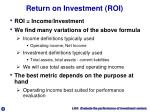 return on investment roi