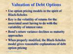valuation of debt options