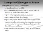 examples of emergency report