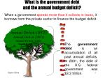 what is the government debt and the annual budget deficit