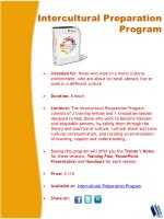 intercultural p reparation program