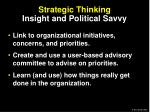 strategic thinking insight and political savvy