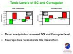 tonic levels of sc and corrugator