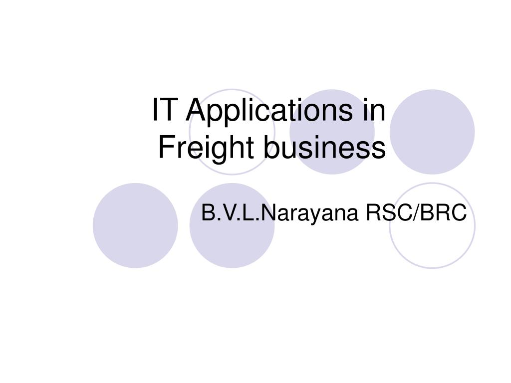 it applications in freight business l.