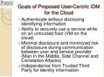 goals of proposed user centric idm for the cloud