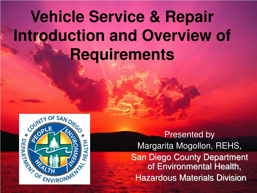 vehicle service repair introduction and overview of requirements l.