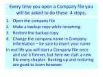 every time you open a company file you will be asked to do these 4 steps