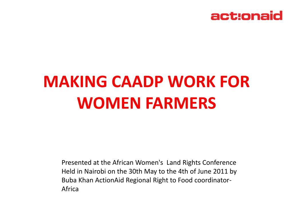 making caadp work for women farmers l.