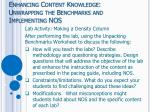 enhancing content knowledge unwrapping the benchmarks and implementing nos