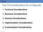 top 10 considerations for an upgrade