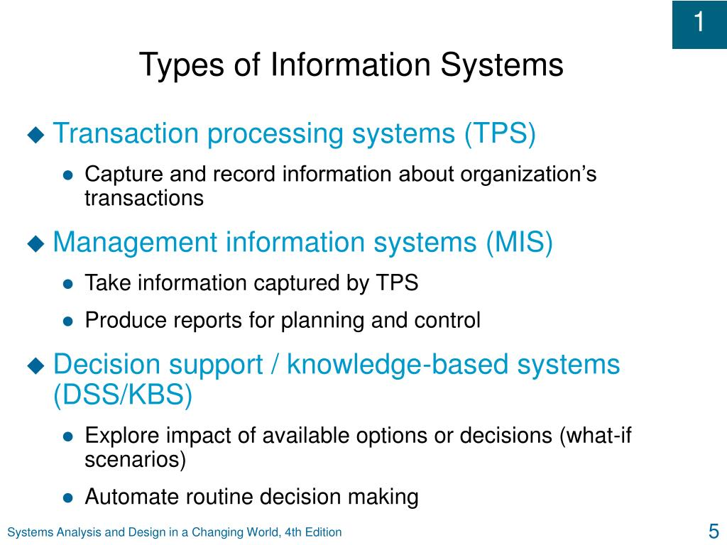five types of information systems Following are the types of information systems : transaction processing systems management information systemsdecision support systems executive information systems.